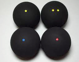 The four most common squash balls